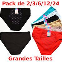 Lot pack 1 à 24 Culottes Grande Taille femme Coton XL XXL XXXL slip panties
