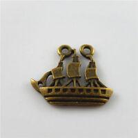 Wholesale 28pcs/lot Antique Style Bronze Tone Alloy Sail Boat Pendants Crafts