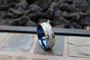 Handmade Polished Brushed Inlay Ring Size 10