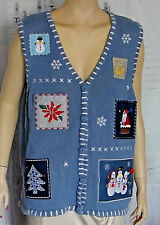 Holiday Editions Ugly Christmas knit Sweater Women's XL slate blue Cardigan Snow