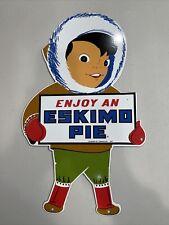 "Vintage 1957 ""Enjoy An Eskimo Pie Ice Cream Bar� Metal Porcelain Ad Sign"