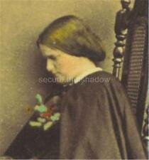 Tinted CDV: Enigmatic YOUNG WOMAN w BOOK & HAT Melancholy? Mourning? Blindness?