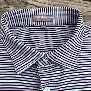 Peter Millar Lavender Mint Striped 100% Cotton Short Sleeve Polo Shirt Size L