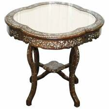 1924 BRITISH EMPIRE CHINESE EXHIBITION ROSEWOOD & MOTHER OF PEARL INLAID TABLE