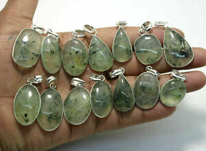 100Pcs Pendant Wholesale Lot Prehnite Gemstones 925 Sterling Silver Plated