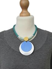 LAGENLOOK*LOLILOTA*AMAZING SHORT NECKLACE/PENDANT*TURQUOISE* RUBBER+METAL*