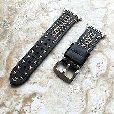 Negro 3 Capas Correa de Piel para Apple 38mm 40mm 42mm 44mm Reloj Todo Serie