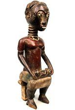 Art Africain Tribal - Maternité Colon Baoulé Assise - African Maternity - 34 Cms