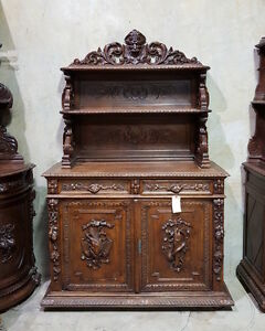 1110027 : Antique French Renaissance Carved Hunt Buffet Vaisselier Cabinet