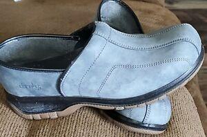 EXC Dansko Sport Clogs Grey Black trimmed edges Rubber soles 40