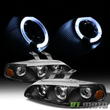 Black 92-95 Honda Civic 2/3Dr Dual Halo Projector Headlights Lights Left+Right