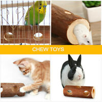AS_ Natural Wooden Tunnel Pet Hamster Mouse Gerbils Rodents Wood Tube Cage Chew