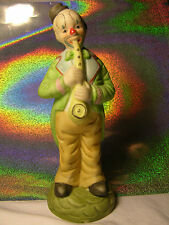 Collectible CLOWN w/ Clarinet Ceramic Porcelain in Green Tails Tux Vintage '80's
