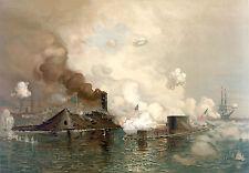 Civil War Prints: Monitor & Merrimac - The First Ironclad Battle: Fine Art Print