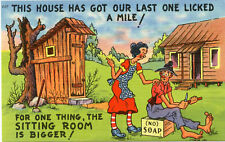 Hillbilly Humor-Larger Sitting Room in Outhouse-Vintage Art Comic Postcard