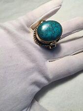 Handmade Tribal Tibet Genuine Turquoise Howlite Adjustable Brass Poison Box Ring