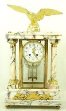 Very Elegant Fireplace Clock Glass Pendule With Eagle Um 1860