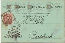 ITALIEN 1894 König Umberto I 10 C. karmin herrlicher Firmenzier-Postkarte MILANO