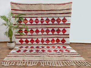Bohemian Moroccan Rug Decor Inspired Handmade Beige White Red Colorful Rug MD-20