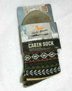 Field & Stream Men One Size Explorer Cabin Socks Olive 95690 Green Gray Aloe