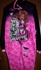MONSTER High Fleece HOODED Pajamas NeW Girls 14/16 Zip-Up Warm Winter Pjs w/Hood
