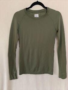Athleta Momentum Long Sleeve Top Shirt Size XS in Green Mesh Seamless Nylon 2020