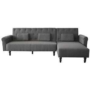 Sofá cama sistema clic clac, sofa tela tejido patas madera, reversible, Chester