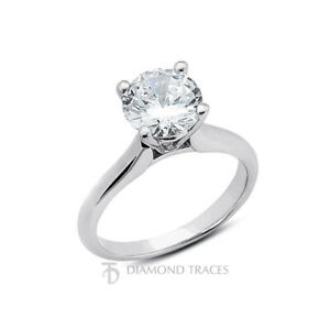 3ct G SI2 Round Earth Mined Certified Diamond 14k Gold Solitaire Engagement Ring