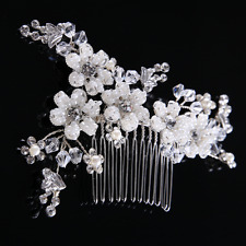 Vintage Women Rhinestone Crystal White Seed Beads Wedding Hair Clip Comb Jewelry