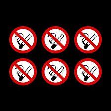 No Smoking Stickers - 75mm circle - Pack of 6, car, van, window, taxi, shop