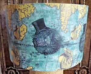 Nautical map Lampshade ,Sir Puffer Fish, shabby chic, light shade,steampunk.