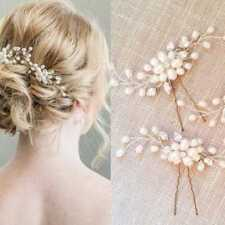Women Wedding Bridal Pearl Flower Crystal Hair Pin Bridesmaid Clip Side Comb Hot