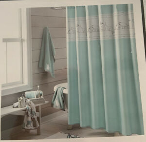 """NEW!  ONE HOME """"Kitty Cat Embroidered""""  SHOWER CURTAIN 100% Poly Aqua/Gray/White"""