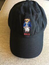 NEW RALPH LAUREN POLO BEAR WINTER SKIER CARCOAT BASEBALL HAT/CAP  BLACK 1 SIZE