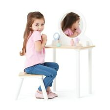 wooden Dressing Table Makeup Vanity Desk Hair Dryer Kids pretend toy playset F1