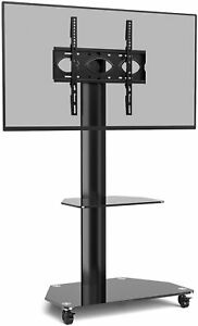 """Rolling Floor TV Stand on Wheels for 32""""- 55"""" TVs, Height Adjustable Mobile TV T"""