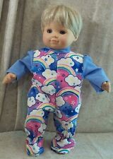"""Doll Clothes Baby Made 2 Fit American Girl Boy 15"""" Bitty Sleeper Rainbows Blue"""