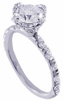 18K WHITE GOLD ROUND FOREVER ONE MOISSANITE AND DIAMOND ENGAGEMENT RING 1.50CTW
