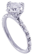 Diamond Engagement Ring Bridal Halo 1.50Ctw 14K White Gold Round Moissanite And