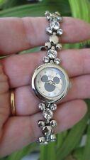 Elegant Disney Ladies Mickey Mouse Shaped Band Watch Faux Diamonds Silver Tone 7
