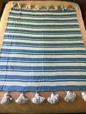 "Whim by Martha Stewart Band Together Throw Blanket 50"" x 60"" Blue Striped New"