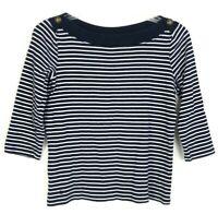 Ralph Lauren Women's Blue & White Stripe Sweater Size L 3/4 Sleeve Top CPK