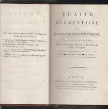 Traité élémentaire de l'analyse mathématique de J.A.J. Cousin  EO 1797  Bernard