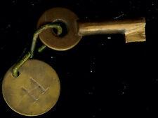 Vintage Brass Police Call Box Barrel Padlock Key Gamewell Fire Alarm & Fob #11