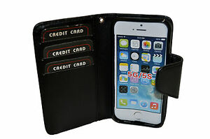 PHONE CASE WALLET CARD MONEY HOLDER VIEWING STAND MAGNETIC CLOSURE FITS IPHONE 5
