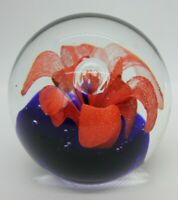 Vintage Hand Blown Art Glass Round Bubbled Paperweight Red Orange Flower  B1