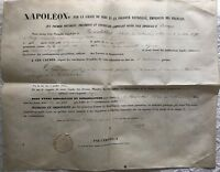 DIPOME DE REHABILITATION PAR L'EMPEREUR  NAPOLEON III AVEC SIGNATURE ORIGINALE
