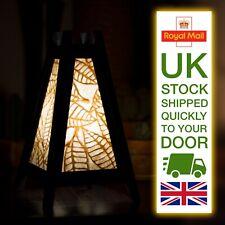 Asian Wood Bedside Table Lamp 'Paper Leaf Beige' paper leaf design FAST & FREE