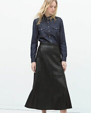 ZARA BLACK SEAMED LONG FAUX LEATHER SKIRT SIZE S BNWT