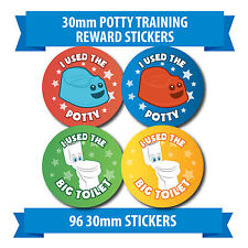 "96 30mm ""POTTY TRAINING"" toilet reward stickers red blue stars"
